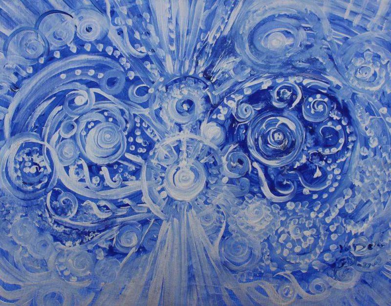 Explosión energética en azul