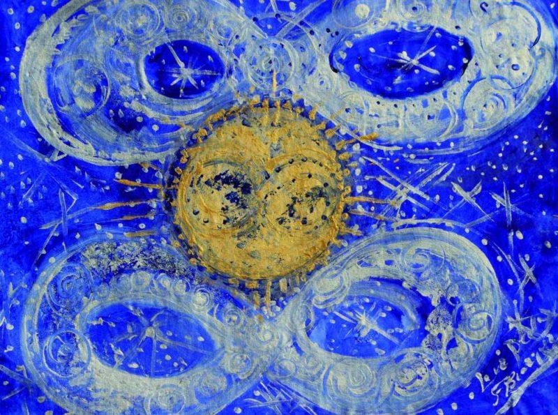 El sol dorado del brillo cósmico