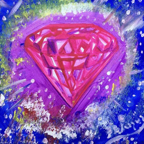 Título: El diamante del universo Técnica: Acrílico sobre tela. Medidas: 20×20 cm Año: 2020 Precio: 350 Euros