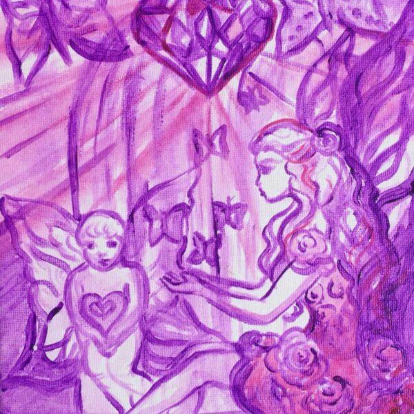 Rayo de la magia violeta en el corazon de amatista
